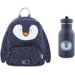 Pack mochila + botella 350 ml del pingüino