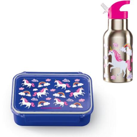 Pack de fiambrera Bento Box + botella isotérmica acero inoxidable de los unicornios