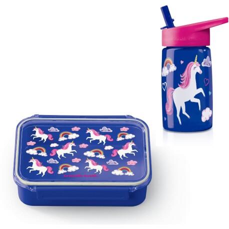 Pack de fiambrera Bento Box + botella de tritán de los unicornios