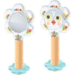 Sonajero con espejo para bebé de color blanco