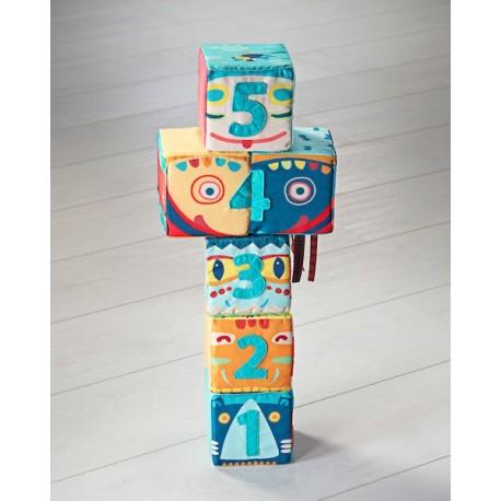 Set de seis cubos tótem apilables