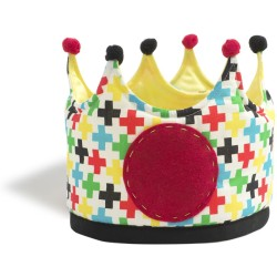 Corona grande de tela con estampado de cruces blue circus