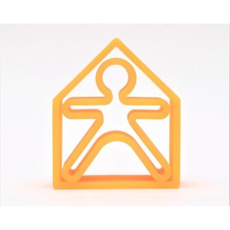 Kit de juguetes de silicona (muñeco + casa) de color naranja