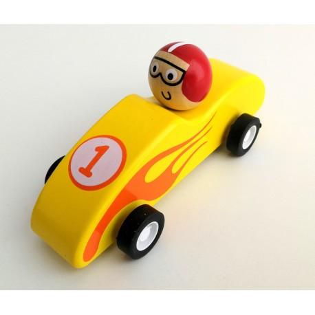 Mini coche de carreras de madera amarillo