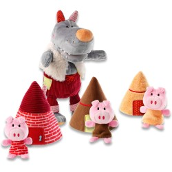 El lobo y los tres cerditos (Wolf handpuppet & 3 little pigs)