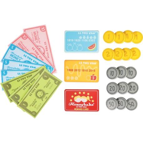 Monedas, billetes y tarjetas de madera
