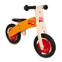 Bicicleta de equilibrio de madera naranja y roja