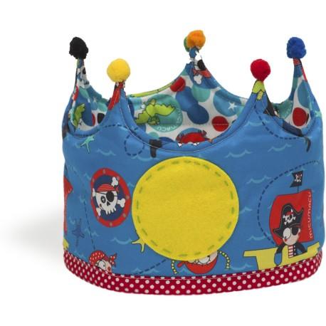 Corona grande de tela con estampado de piratas