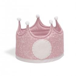 Corona de tela reversible con estampado de constelación rosa