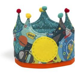 Corona grande de tela con estampado de robots