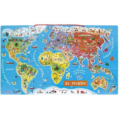 Mapamundi magnético en español de 92 piezas