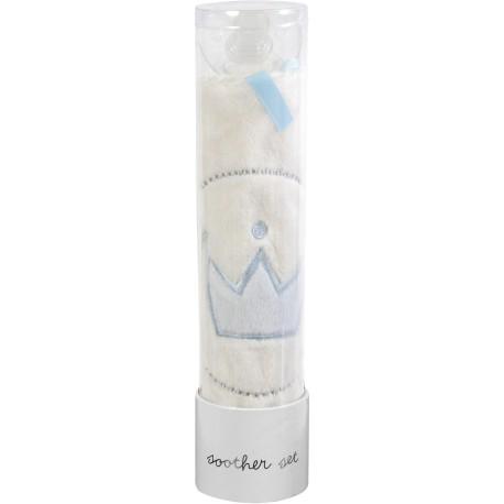Mantita blanca con corona azul + chupete (Tuttle Ivory, Crown Blue+ Soother).