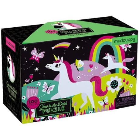 Puzle fluorescente de 100 piezas de unicornios