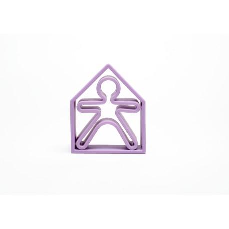 Kit de juguetes de silicona (muñeco + casa) de color lila pastel