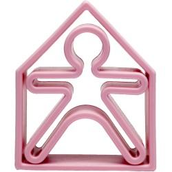 Kit de juguetes de silicona (muñeco + casa) de color rosa pastel