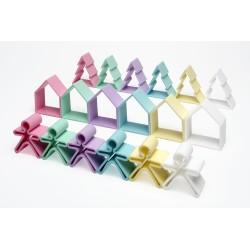 Kit de juguetes de silicona (6 muñecos + 6 casas + 6 árboles) de colores pastel